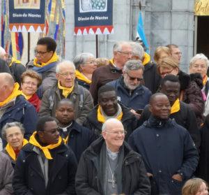Mgr James et les prêtres de Parakou à Lourdes